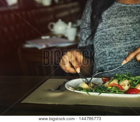 Woman Girl Cafe Casual Meal Dinner Brunch Concept