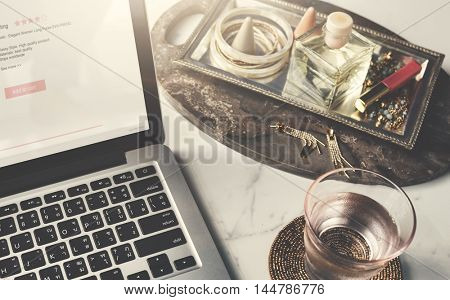 Stationery Object Earring Laptop Marble Table Concept