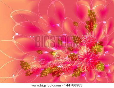 Pink flowers on orange background with dew and stars. EPS10 vector illustration.