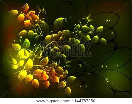 Fabulous monochrome floral composition in Golden tones, vignette on a dark background.EPS10 vector illustration
