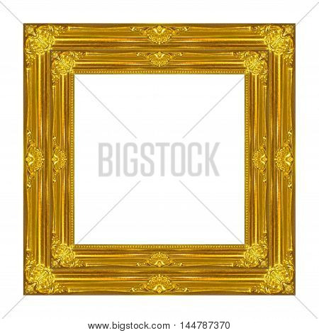 frame vintage blank picture frame wooden carved isolated on white background