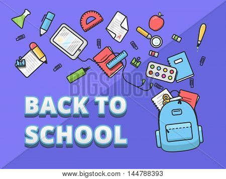 Full school subjects backpack school supplies fly out of the backpack back to school outline illustration flat design template of educational banner