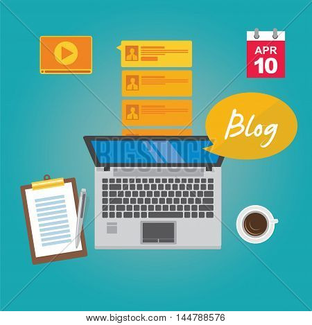 blogging with laptop write article vector illustration