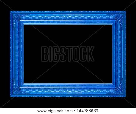 frame picture frame wooden Carved pattern isolated on a black background.