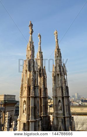 Rooftop spires and sculptures, Milan Cathedral, Milan, Italy