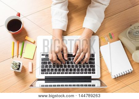 business people working on an office desk Business concept soft focus vintage tone with copyspce