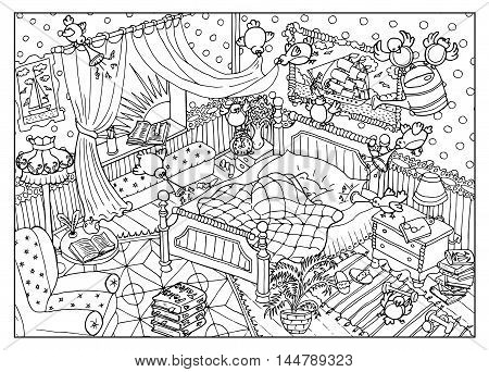 Black and white drawing with naughty birds and sleeping cute bear in the morning. Cartoon children's illustration for coloring book page.