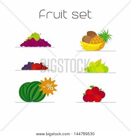 Foods market fruits flat icons set. Vector illustration