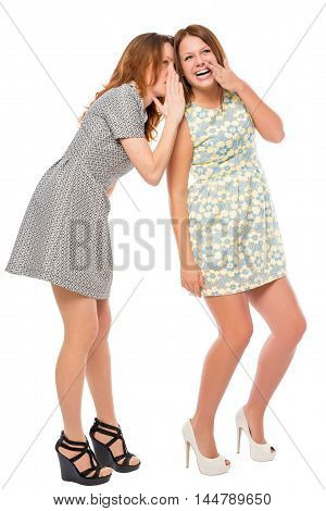 Young Girls Quietly Secretive On A White Background