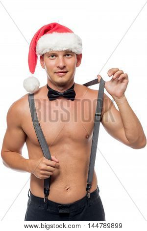 Santa Stripper Removes Suspenders Portrait On A White Background