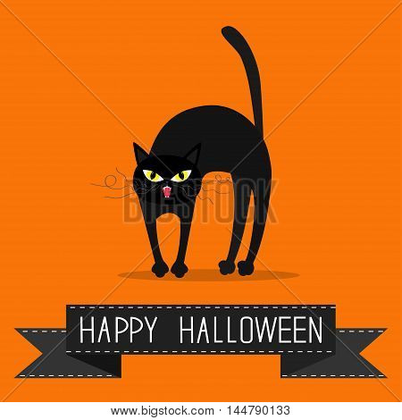 Cat arch back. Yellow eyes fangs curl moustaches whisker. Black ribbon. Happy Halloween greeting card. Funny cartoon character. Isolated. Orange background. Flat design. Vector illustration