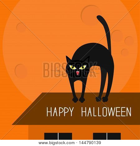 Cat arch back. Kitty on roof. Yellow eyes fangs curl whisker. Happy Halloween card. Moon house windows. Funny cartoon character. Isolated Orange background Flat design. Vector illustration