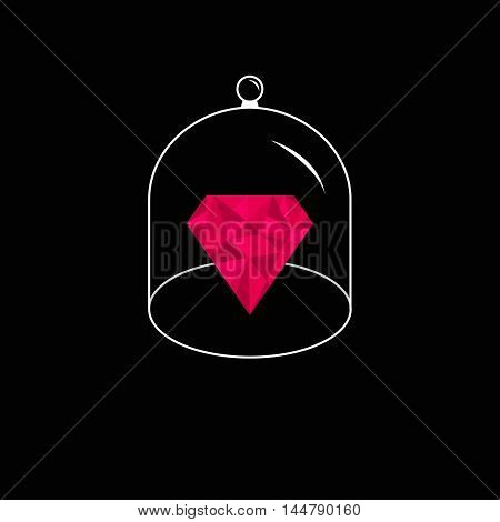 Pink polygonal diamond. Glass bell cover cap. Half sphere lid dome with handle. Black background. Vector illustration.