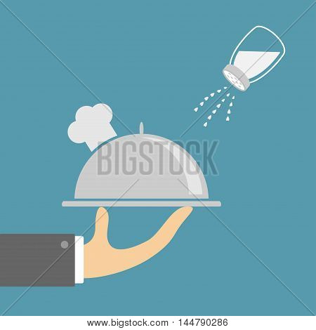 Hand with silver platter cloche chef hat and salt shaker. Glass container Heart crystal. Flat design. Blue background. Vector illustration