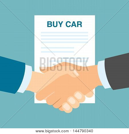 Buy car contract handshake. Men shaking hands in agreement about buying car. Agency selling cars.