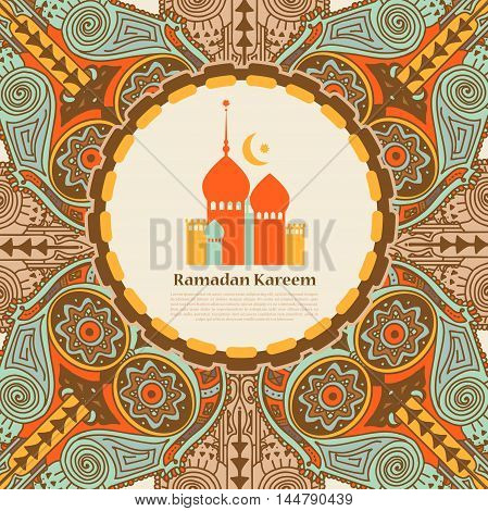 template for muslim holiday card, vector illustration