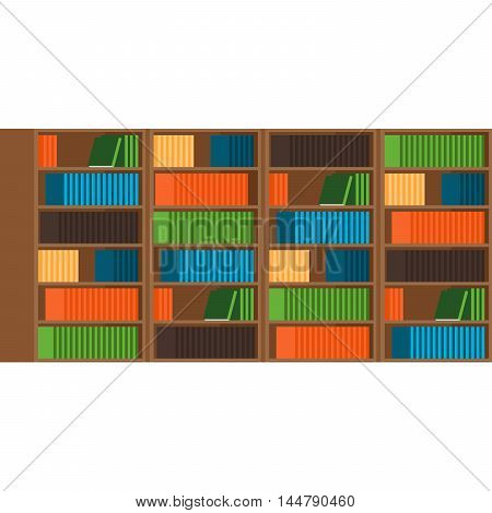 Books shelf flat style horizontal vector illustration