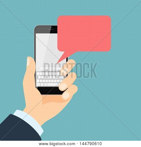 Smartphone with message. Isolated hand holding smartphone with blank template message bubble on white background.