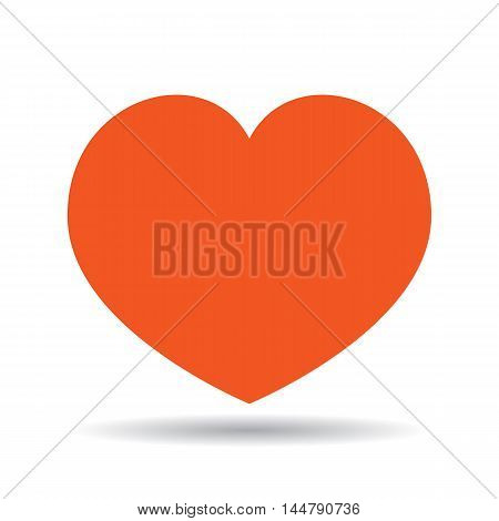 Isolated red heart with shade on white background. Concept of valentines day, romantic holiday, marriage or health.