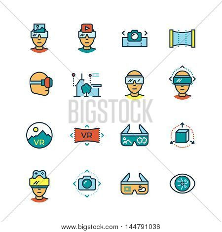 Virtual reality, virtual computer, visual communication innovation future technologies thin line icons with color flat elements. Vector illustration