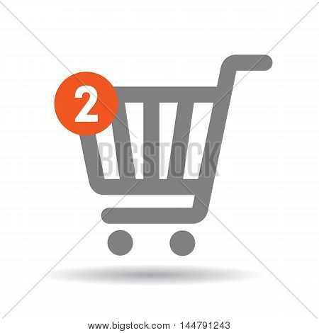 Shopping cart with two items. Isolated shopping icon on white background. Icon or logo for online shop.