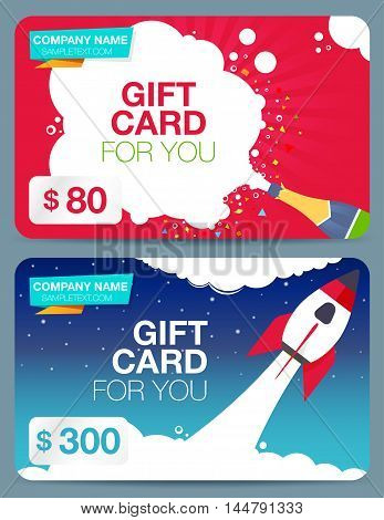 Two of gift cards with colorful design. With depicting champagne and rocket. Discount card.