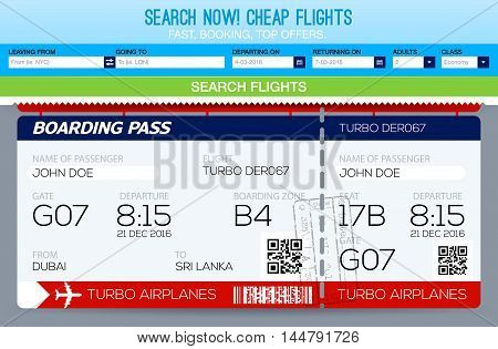Booking tickets flight Template. Search Flights. Template tickets
