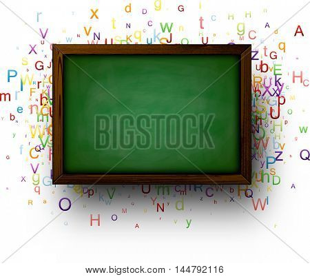 Back to school background with blackboard and colored letters. Vector illustration.