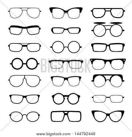 Sunglasses, eyeglasses, geek glasses different model shapes vector silhouettes icons. Fashion assortment eyewear illustration