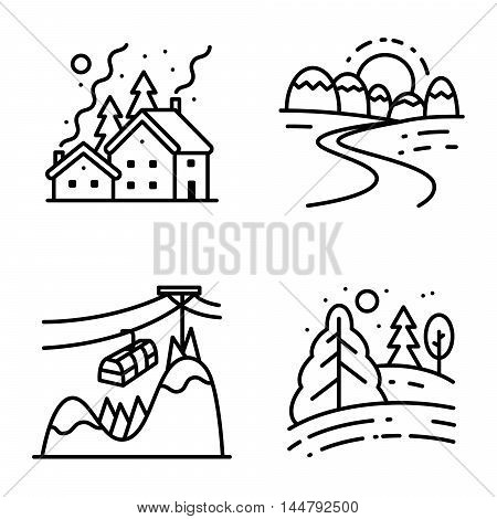 Vector black and white thin simply icons set with winter cute landscapes in line art style. Collection of night Christmas snowy houses sunrise in mountains lift at the peak and day in the forest
