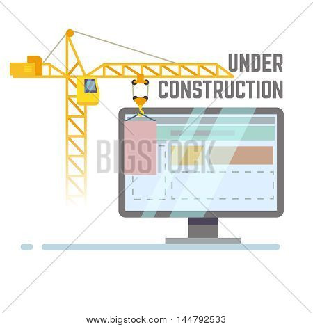 Building under construction web site vector background. Repair web page with crane illustration