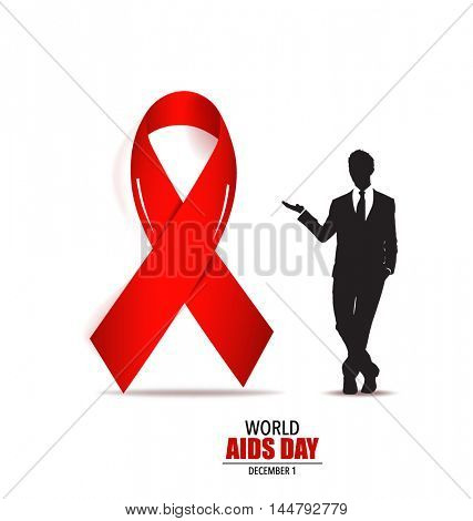 Aids Awareness. World Aids Day concept with red ribbon. Vector illustration.