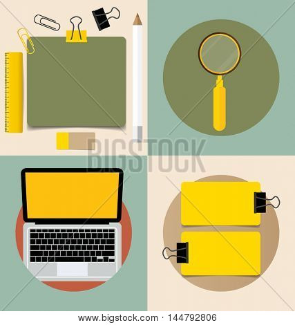 Laptop and Cute note papers, ready for your message. Vector illustration