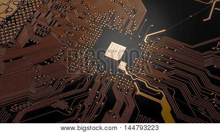 top view of the printed circuit board with yellow tracks