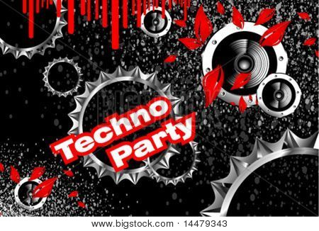 VECTOR Techno party with gears and black background