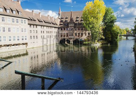 Heilig-Geist-Spital or Hospital of the Holy Spirit, over the river Pegniz in Nuremberg, Germany