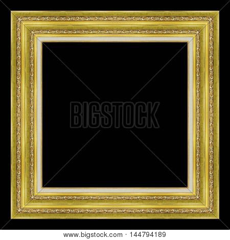picture frame wooden carved frame pattern isolated on black background.