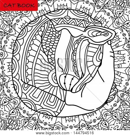 Mutual love. Cat's head in the palm of your hand. Coloring book page for adults with patterns. Zenart