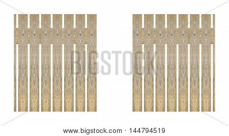 wooden fence isolated white background apply design and background.