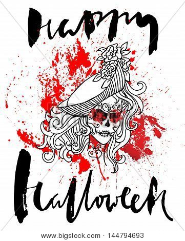 Handdrawn lettering on watercolor blood drops background. Vector skull girl with sewn lips. Day of The Dead. Happy halloween.