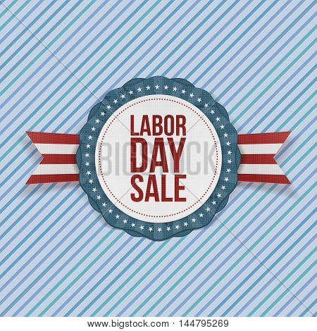 Labor Day Sale Label with Ribbon. Vector Illustration