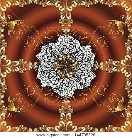 Abstract beautiful background with golden and white floral elements on brown radial background.