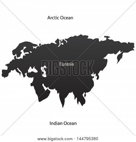 Eurasian continent and two oceans. Vector illustration