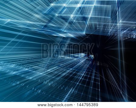 Abstract background element. Fractal graphics series. Three-dimensional composition of intersecting grids and motion blur. Information technology concept. Blue and black colors.