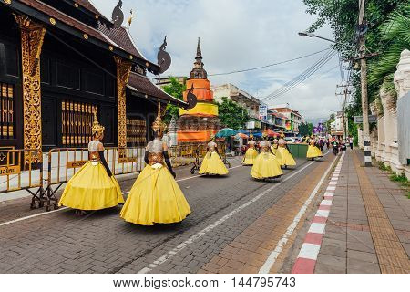 Girls In Festival Costumes On The Street Of Chiang Mai, Thailand