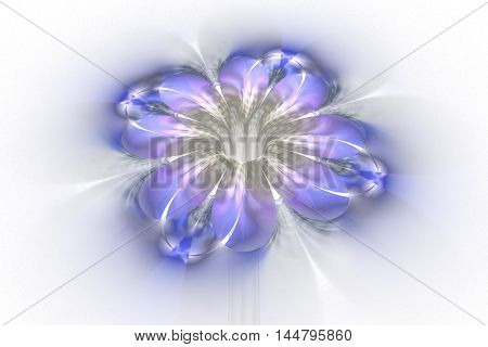 Abstract glowing colorful flower on white background. Fantasy purple blue and grey fractal design for posters wallpapers postcards or t-shirts. Digital art. 3D rendering.