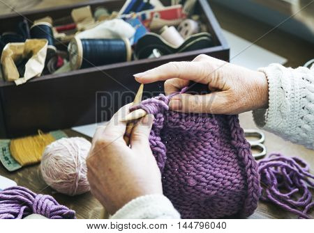 Woman Granny Crochet Handmade Concept