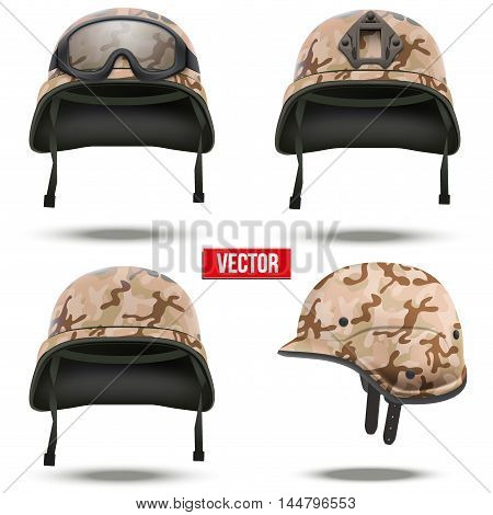 Set of Military tactical helmets of rapid reaction. Desert camo color. Army and police symbol. Editable Vector illustration Isolated on white background.
