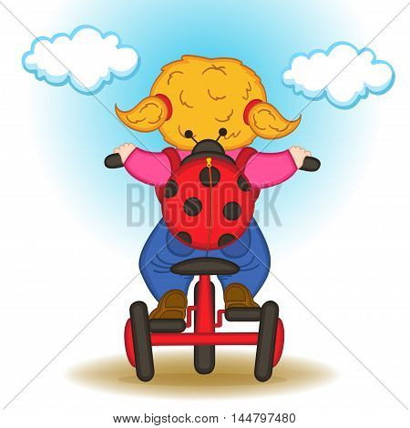 girl with backpack in form of ladybug rides bicycle - vector illustration, eps