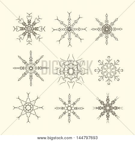 Set of snow-flakes line icons, black and white sketches on light pink, vector illustration